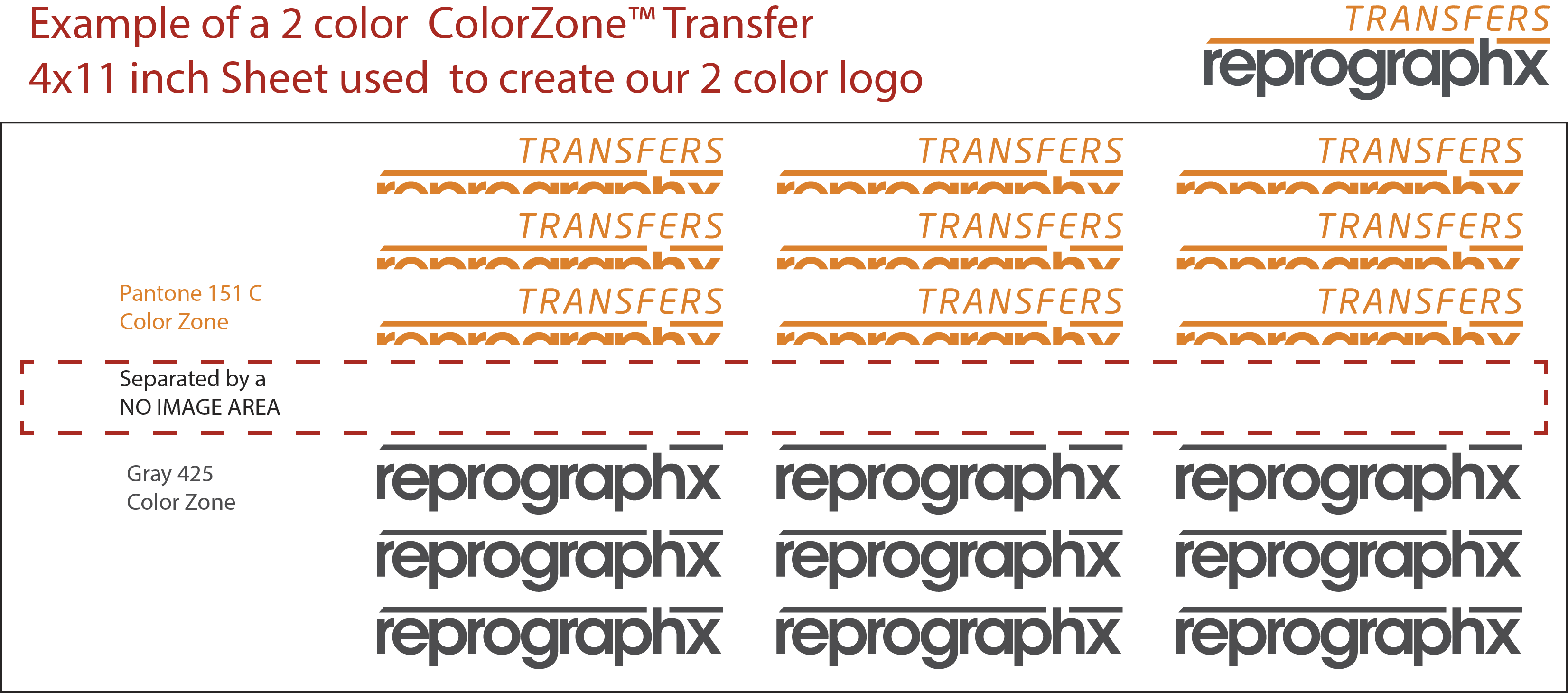 Multiple Color rub on transfer arranged in zones
